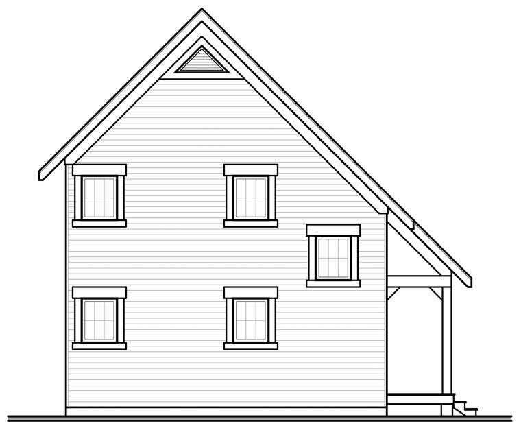 Cabin Traditional Rear Elevation of Plan 76149