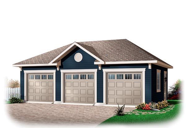 3 Car Garage Plan 76153 Elevation
