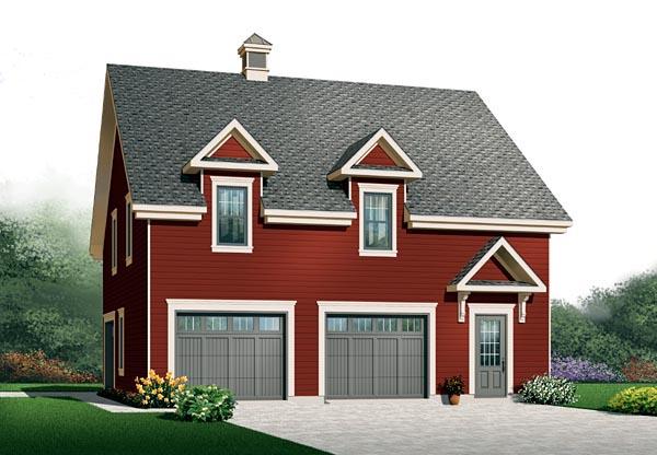 Traditional 3 Car Garage Plan 76154 Elevation