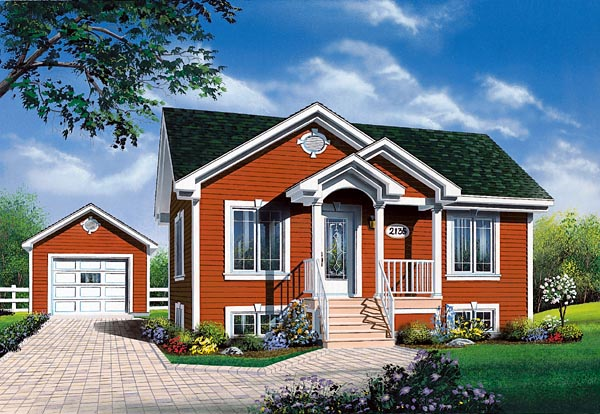 Traditional House Plan 76155 with 2 Beds, 1 Baths Elevation