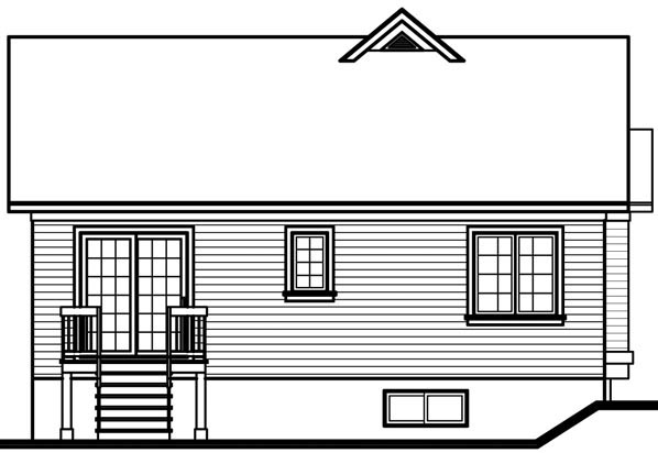 Bungalow Traditional House Plan 76156 Rear Elevation