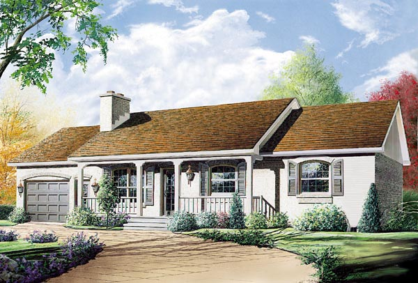 Ranch House Plan 76158 with 3 Beds, 1 Baths, 1 Car Garage Elevation