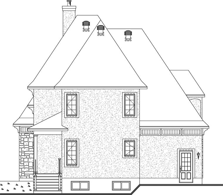 European Victorian House Plan 76160 Rear Elevation