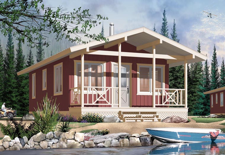 Cabin House Plan 76167 with 2 Beds, 1 Baths Elevation