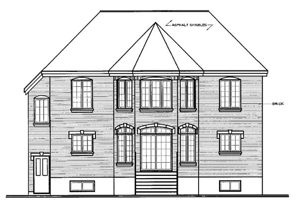 European House Plan 76169 with 4 Beds, 3 Baths, 2 Car Garage Rear Elevation