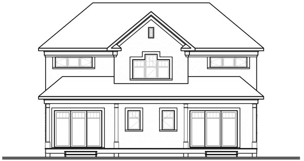 House Plan 76173 | European Style Plan with 2885 Sq Ft, 5 Bedrooms, 4 Bathrooms Rear Elevation