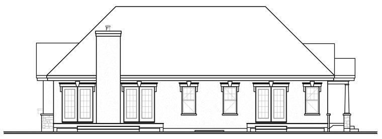 European House Plan 76174 Rear Elevation