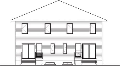 Contemporary , Rear Elevation of Plan 76178