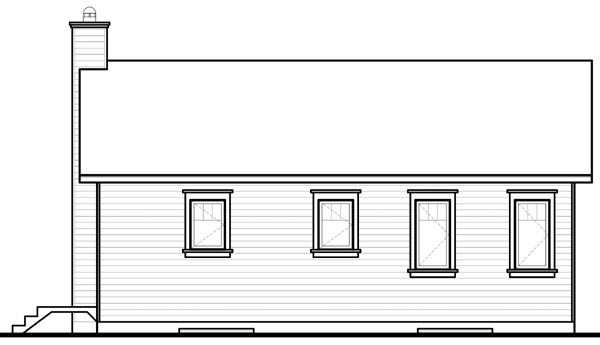 Bungalow House Plan 76181 with 2 Beds, 1 Baths Rear Elevation