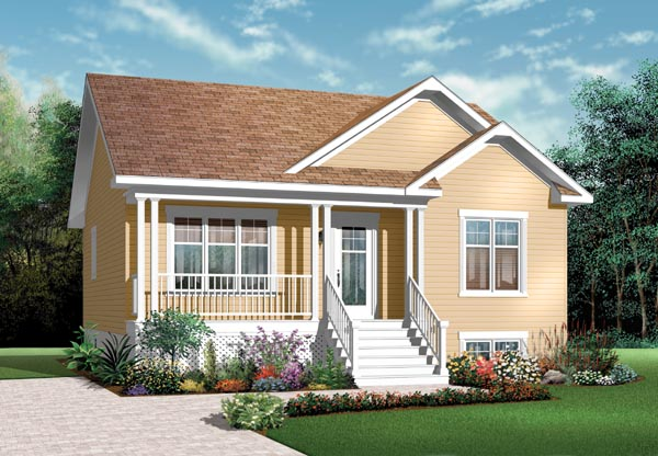 Bungalow , Country , Traditional House Plan 76183 with 2 Beds, 1 Baths Elevation