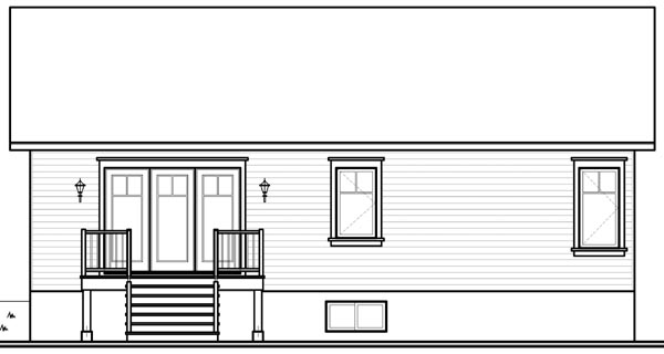 Bungalow , Rear Elevation of Plan 76187