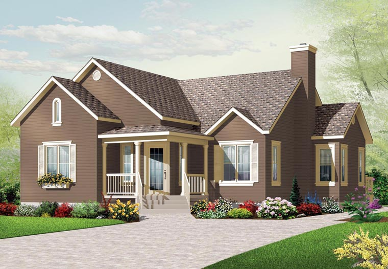 Country House Plan 76190 with 3 Beds, 1 Baths Elevation