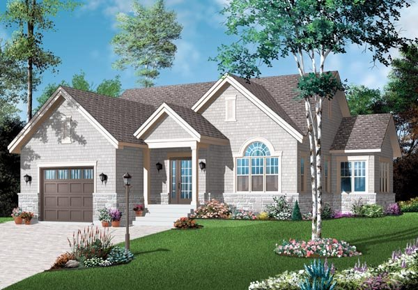 Craftsman , Bungalow House Plan 76191 with 2 Beds, 1 Baths Elevation