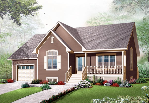 House Plan 76192 | Country Style Plan with 1318 Sq Ft, 2 Bed, 1 Bath, 1 Car Garage Elevation