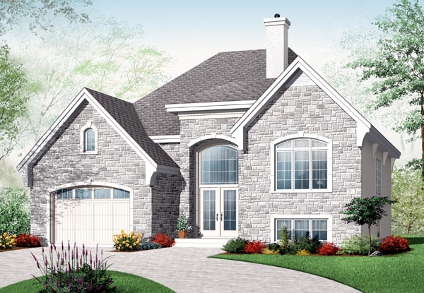 European House Plan 76199 with 2 Beds , 1 Baths , 1 Car Garage Elevation