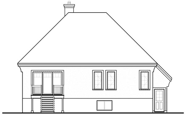 European House Plan 76199 Rear Elevation
