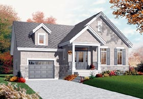 Craftsman , Bungalow House Plan 76200 with 1 Beds, 1 Baths, 2 Car Garage Elevation