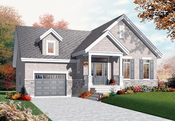 Bungalow, Craftsman House Plan 76200 with 1 Beds, 1 Baths, 2 Car Garage Elevation