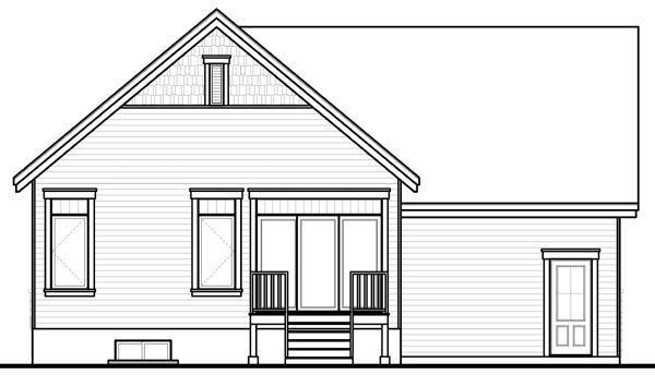 Bungalow, Craftsman House Plan 76200 with 1 Beds, 1 Baths, 2 Car Garage Rear Elevation
