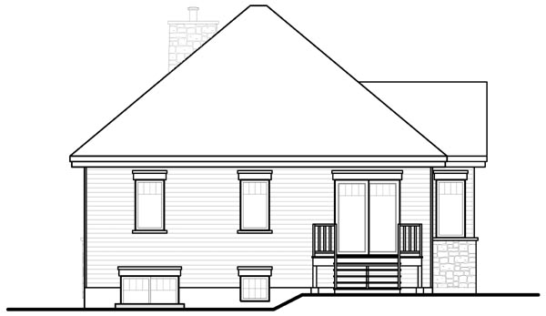 Country Craftsman European House Plan 76207 Rear Elevation