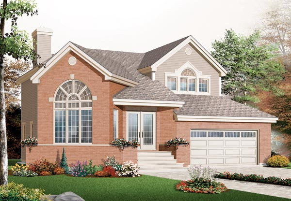 European House Plan 76208 with 3 Beds, 2 Baths, 2 Car Garage Elevation