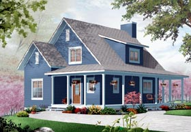 Country , Traditional House Plan 76215 with 3 Beds, 2 Baths Elevation