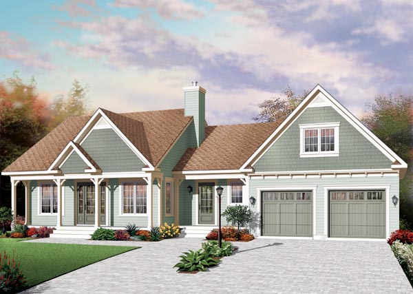 House Plan 76219 | Country Style House Plan with 1432 Sq Ft, 3 Bed, 2 Bath, 2 Car Garage Elevation