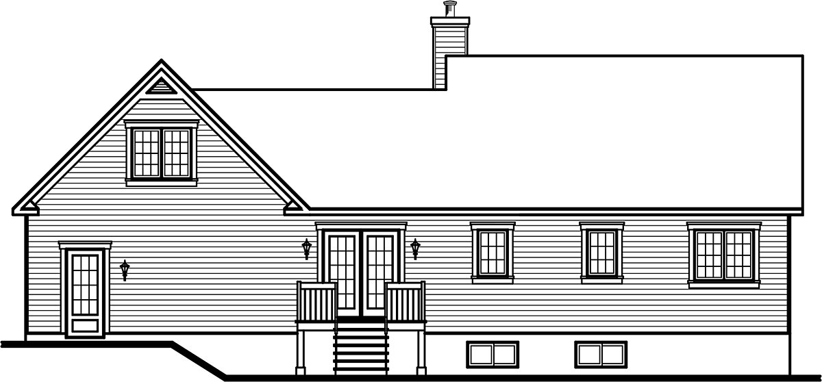 House Plan 76219 | Country Style House Plan with 1432 Sq Ft, 3 Bed, 2 Bath, 2 Car Garage Rear Elevation