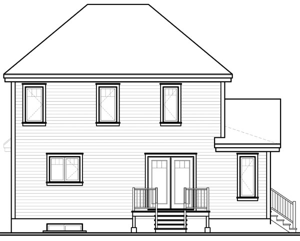 Country Farmhouse Rear Elevation of Plan 76221