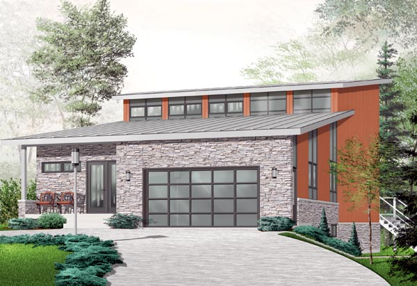 Contemporary, Craftsman House Plan 76226 with 3 Beds, 3 Baths, 2 Car Garage Elevation