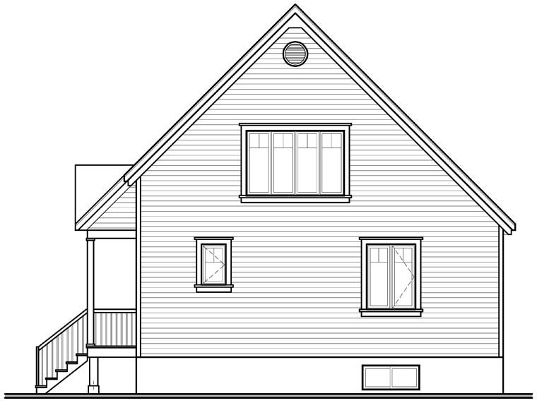 Cottage Country Traditional Rear Elevation of Plan 76232