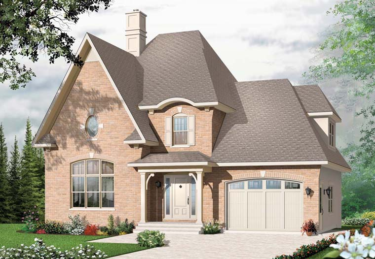 House Plan 76233 | European Style Plan with 1758 Sq Ft, 3 Bedrooms, 2 Bathrooms, 1 Car Garage Elevation