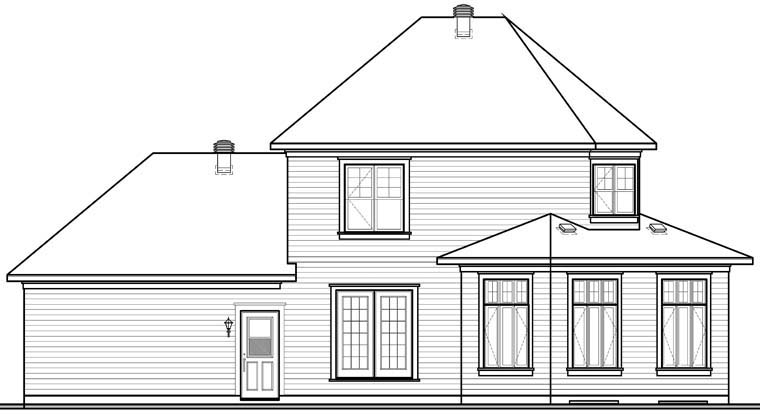 House Plan 76234 | Traditional Style Plan with 1662 Sq Ft, 3 Bedrooms, 2 Bathrooms, 2 Car Garage Rear Elevation