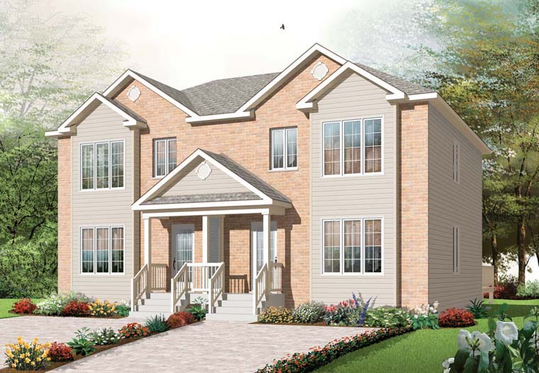 Traditional Multi-Family Plan 76240 Elevation