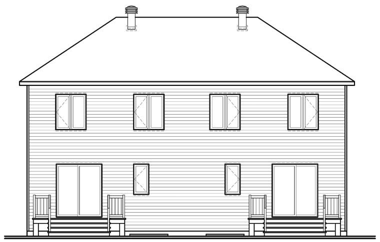 Traditional Multi-Family Plan 76240 Rear Elevation