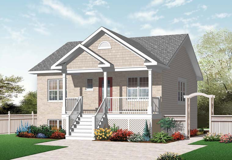 Cottage, Traditional House Plan 76244 with 2 Beds , 1 Baths Elevation