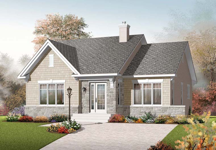 Traditional House Plan 76247 with 2 Beds, 1 Baths Elevation