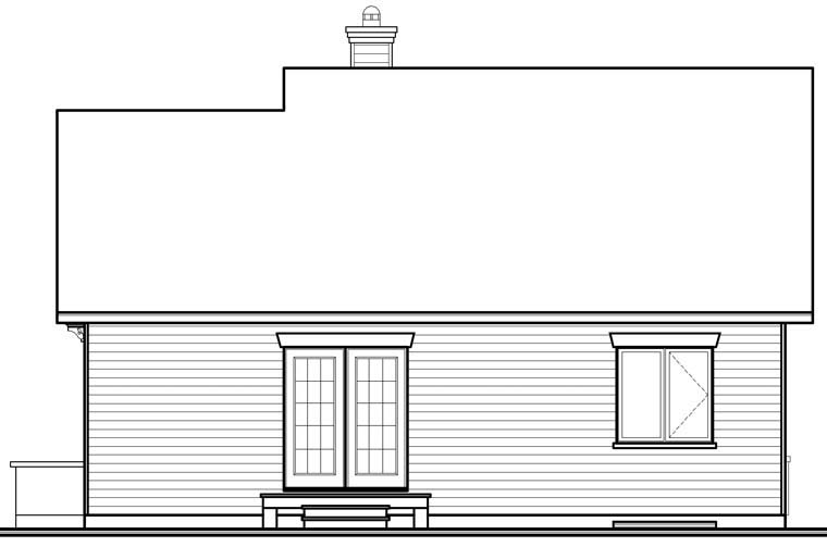 Traditional , Rear Elevation of Plan 76247