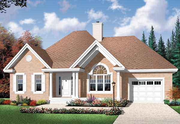 European House Plan 76249 with 2 Beds, 1 Baths, 1 Car Garage Elevation