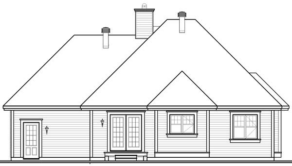 European House Plan 76249 with 2 Beds, 1 Baths, 1 Car Garage Rear Elevation