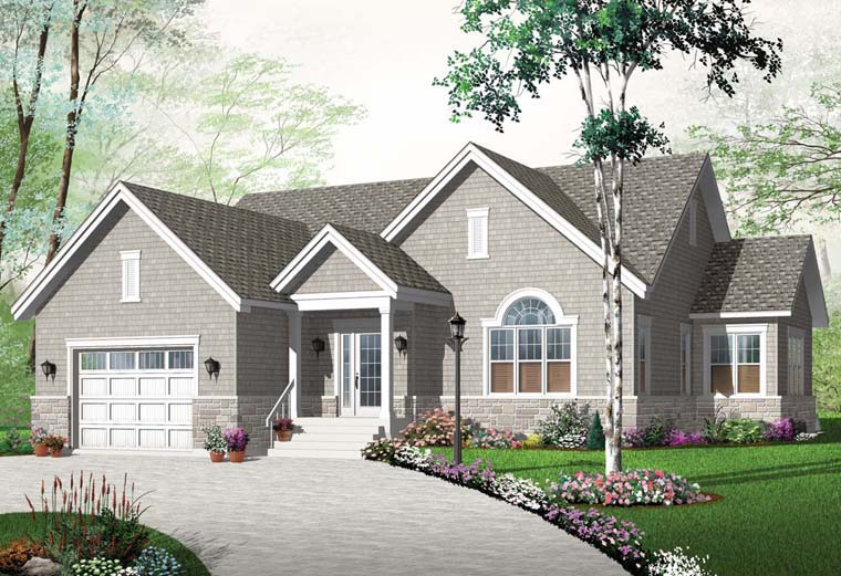 Country, European, Traditional House Plan 76250 with 2 Beds , 1 Baths , 1 Car Garage Elevation