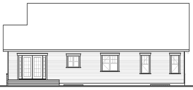 Country European Traditional Rear Elevation of Plan 76250