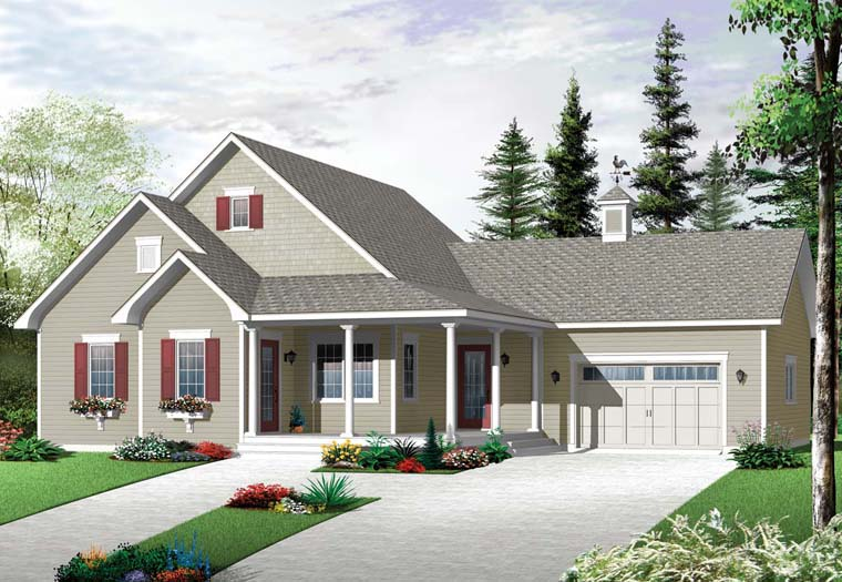 Country House Plan 76253 with 2 Beds, 1 Baths, 1 Car Garage Elevation