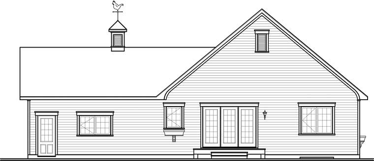 Country House Plan 76253 with 2 Beds, 1 Baths, 1 Car Garage Rear Elevation