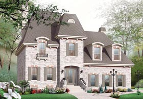 House Plan 76257 | European Victorian Style Plan with 2803 Sq Ft, 3 Bedrooms, 3 Bathrooms, 2 Car Garage Elevation