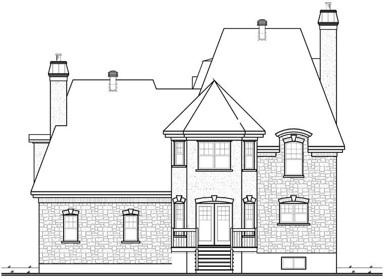 House Plan 76257 | European Victorian Style Plan with 2803 Sq Ft, 3 Bedrooms, 3 Bathrooms, 2 Car Garage Rear Elevation