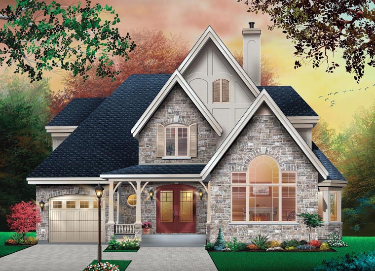 Craftsman , European , Traditional House Plan 76266 with 3 Beds, 2 Baths, 1 Car Garage Elevation
