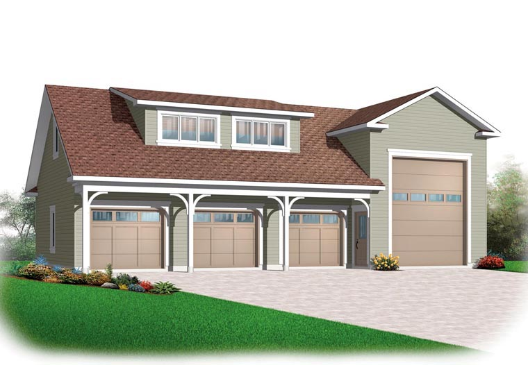 Traditional 3 Car Garage Plan 76278, RV Storage Elevation