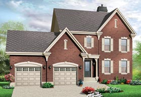 House Plan 76279 | Colonial Traditional Style Plan with 1807 Sq Ft, 3 Bedrooms, 3 Bathrooms, 2 Car Garage Elevation