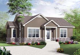 House Plan 76280 | Style Plan with 975 Sq Ft, 2 Bedrooms, 1 Bathrooms Elevation
